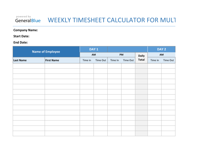 Weekly Timesheet Calculator For Multiple Employees in Excel