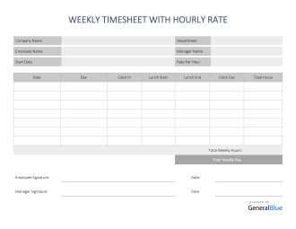 Weekly Timesheet With Hourly Rate in Word