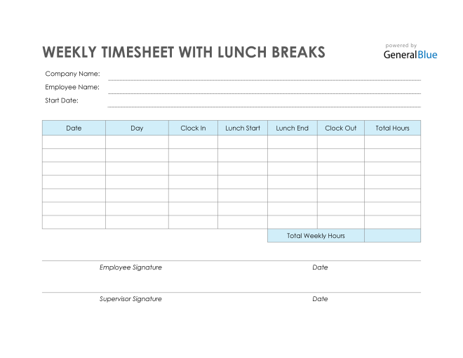 Weekly Timesheet With Lunch Breaks in PDF