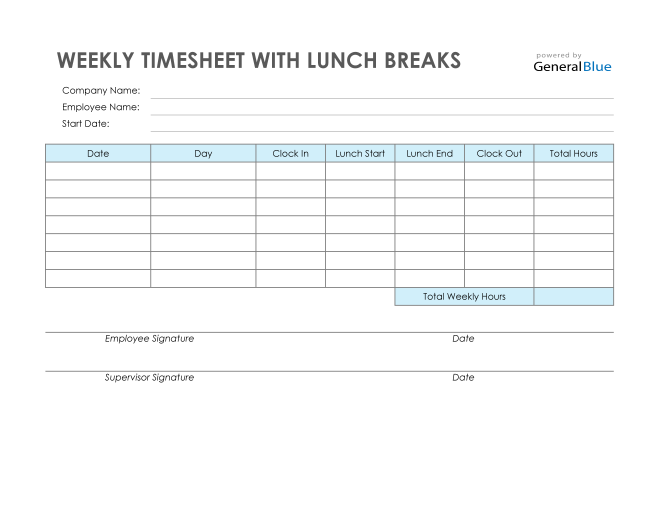 Weekly Timesheet With Lunch Breaks in Excel