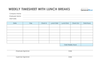 Weekly Timesheet With Lunch Breaks in Word