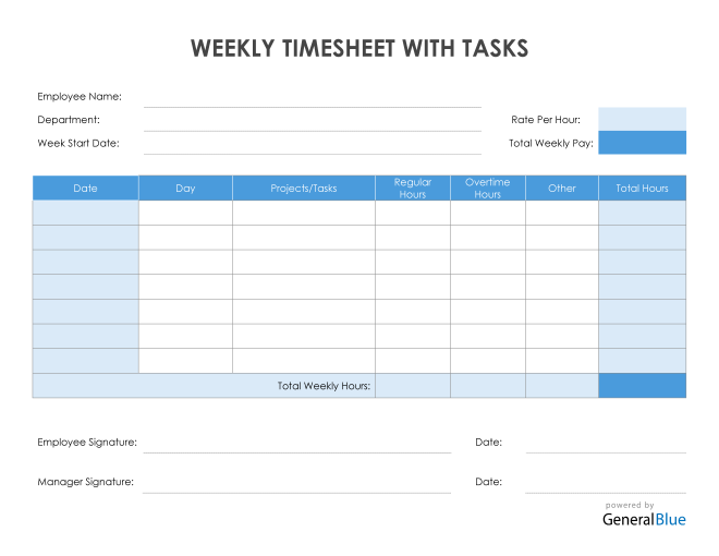 Weekly Timesheet With Tasks in Word