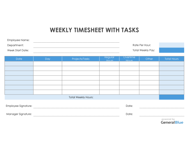 Weekly Timesheet With Tasks in Excel