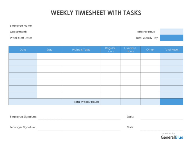Weekly Timesheet With Tasks in PDF