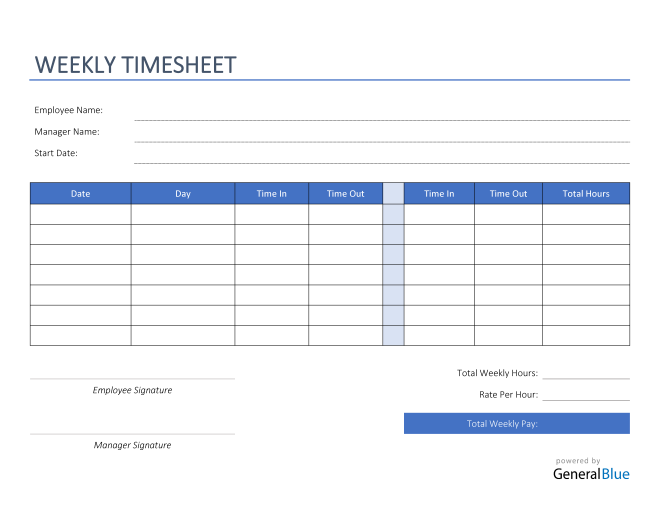 Weekly Timesheet in PDF